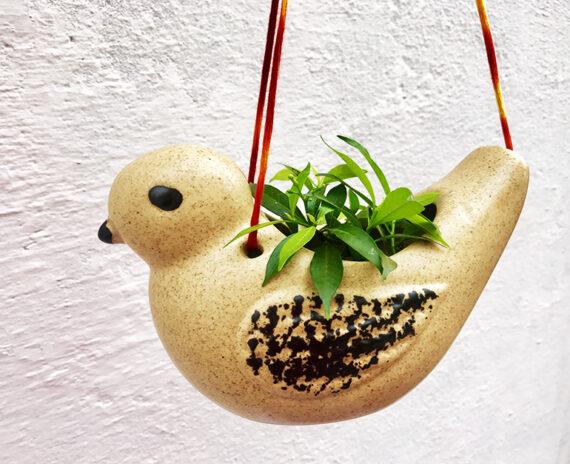 Ceramic bird hanging planter